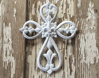 White Distressed Wall Cross Wall Decor with fleur de lis (#691)