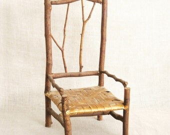 Doll Chair, Miniature Chairs, Twig Chair, Handmade, Rustic Chair, Doll Furniture, Miniature Furniture, Folk Art Chair, Folk Art Furniture