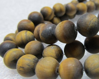 "Tiger Eye Beads 8mm Smooth Matte Flash Brown Rounds - 8"" Strand"