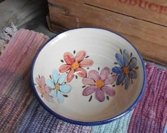 Handmade Ceramic bowl - pottery serving dish - Decorative serving bowl - salad bowl - Pottery Serving Bowl - Wildflower garden - wf120809