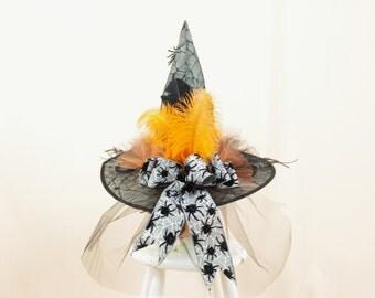Black Witch Hat, Spider Hat, Halloween Witch Hat, Halloween Decor, Spider Decor, Orange and Black, Wicca Hat, Orange Witch Hat