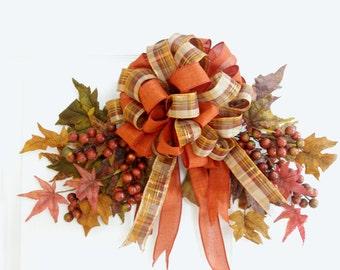 Fall Swag * Fall Wreath * Fall Leaves * Autumn Swag* Autumn Wreath * Fall Decor * Autumn Decor * Orange Wreath * Thanksgiving Wreath