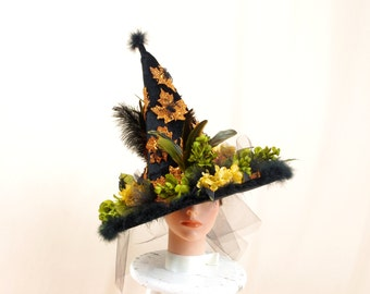 Halloween Witch Hat, Green and Orange and Black Witch Hat, Spider Hat, Wicked Witch Hat, Halloween Decor, Black Witch Hat, Witch Costume