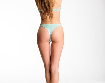 Mint Green Retro High Cut Thong- Comfortable Lingerie-RTS