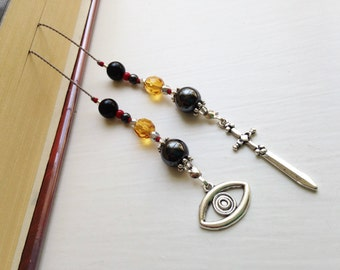 Divergent ERUDITE Faction Gift Bookmark Beaded Book Thong Rear View Mirror Car Accessory Urban Fantasy EYE Sword Charms Gift Reading Lover