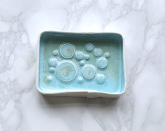 BUBBLING countertop soap dish with aqua glaze. White porcelain ceramic bowl bathroom accessory, jewellery tray, coin bowl