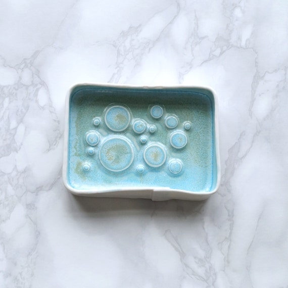 BUBBLING countertop soap dish with turquoise / aqua glaze. White porcelain ceramic soap dish bathroom accessory, jewellery tray, coin bowl