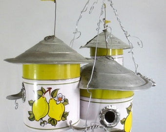 Lemon Canisters of Camelot Cool Trio of Birdhouses
