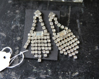 Spectacular Vintage Large 2 inch High Quality Rhinestone Post Chandelier Earrings