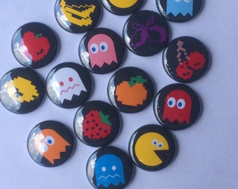 "Lot of  15 1.25"" or 1 inch  Pacman flatback, pinback, hollow back or magnet buttons"