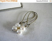 ON SALE Freshwater Pearl Earrings.  Aged Brass.  Holiday Collection.