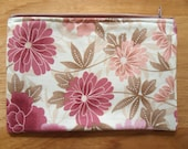 """Flowers - 7"""" Zippered Pouch - Lined  - Coral - Pink"""