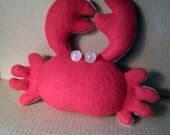 Plush crab crustacean plushie pincushion nautical sea fleece toy