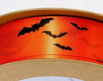 Ribbon: Orange / Black Halloween Printed DecoFun Ribbon for crafts, party favors, cards, floral wreaths, gift wrap, food gifts, scrapbook