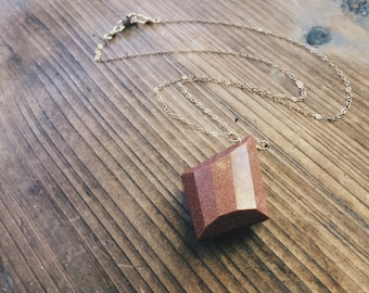 Sunstone Goldstone Gold Filled Necklace Abstract Faceted Southwest Gold Gemstone Crystal Necklace by Rana Salame Jewelry Designs
