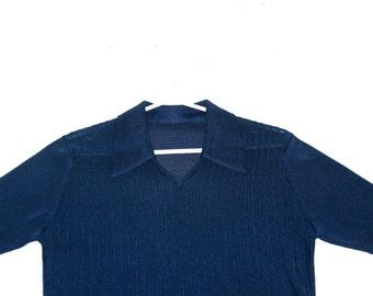 Lovely Midnight Blue Silky 70's Polyamide Knit- Size S/M
