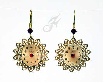 Steampunk Earrings ~ Timex Watch Faces, Brass Filigree & Swarovski Crystal ~ #E0450 ~ Fantasticality by Robin Taylor Delargy