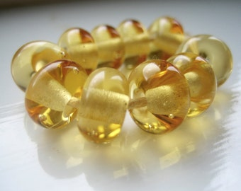 Light Amber Lampwork Glass Spacer Beads, SRA, UK Lampwork, UK Seller