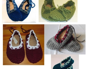 Custom Color Woman's Crochet Slippers, Crochet Mary Janes', Ladies Slippers, Size 5 -13 Shoes for Woman, Crochet Shoes