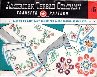 1940s Embroidery Transfer for Tablecloth Runner & Napkins - American Thread Company 115 - UNUSED Floral Transfer