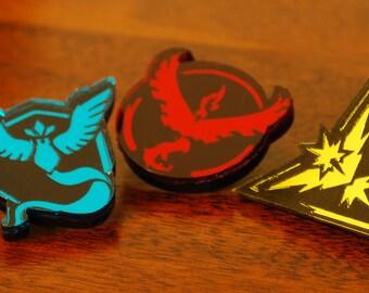 Handmade Acrylic Set of 3 Pokemon Go Badge Pins