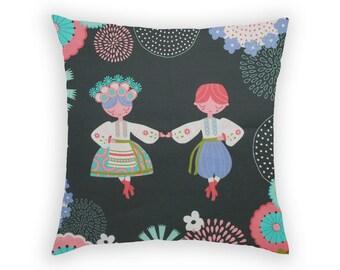 Folk Pillow Throw Cushion Cover Slip Sham Folk Art Folk Dance Charcoal Purple Aqua Pink Green Linen Cotton Flowers Australian Designer Bondi