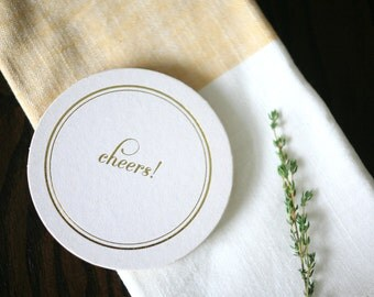 Foil Stamped Coasters - Cheers! paper coasters in gold foil