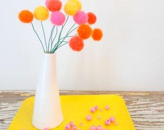 Felt pom pom flowers.  Wool pompom.  Bright pink, yellow, orange flowers,  Faux, fake flowers.  Craspedia, billy balls.  Coral Felt balls.