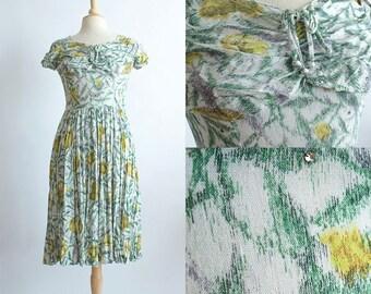 Vintage 50s Dress | 1950s Cotton Dress | Floral Cotton Party Dress