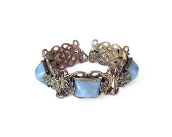 Art Deco Blue Satin Glass Bracelet - Sugarloaf Stones, Gold Tone, Floral Metal, Art Nouveau, Antique Jewelry, Vintage Bracelet