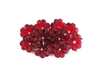 Art Deco Brooch, Celluloid Brooch, Vintage Pin, Maroon Red, Flower Brooch, Antique Jewelry, Vintage Jewelry