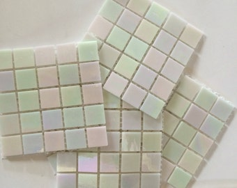 """MY020100 3/4"""" Iridescent White Stained Glass Mossic Tile//Mosaics//Mosaic Supplies"""