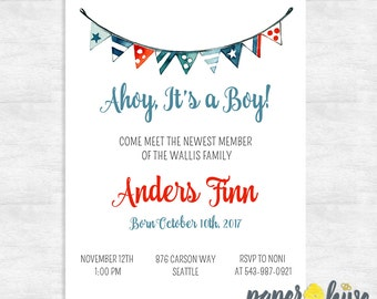 printable sip and see invitations boy / modern sip and see invite / baby shower invitations / ahoy it's a boy / printable invitations