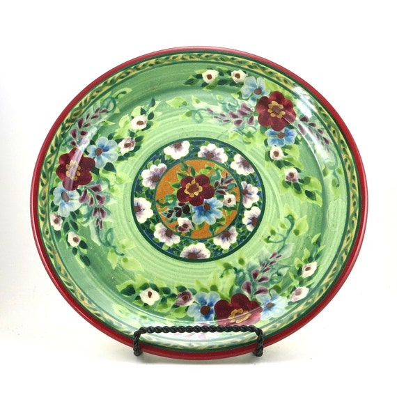Pottery Dinnerware Handmade Ceramic Plate With Green