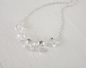 Rock crystal necklace chain necklace clear quartz stones minimalist necklace