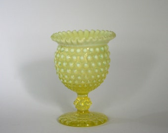 vintage imperial glass hobnail footed vase with ruffled edge