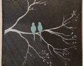 """Robin's Egg Blue """"Love Birds""""  - Handpainted acrylic on Buckingham VA slate - roof tile"""