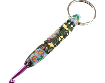 Unique, Colorful Crochet Hook Keychain 4.5mm, Polymer Clay Covered Crochet Hook, By the Pond
