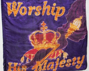 MAJESTY-Silk Prophetic Worship Flag, Hand Dyed Painted