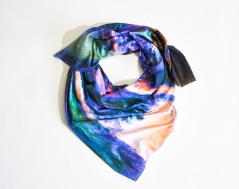 Soft Printed Jersey Scarf in Dark Particle Print