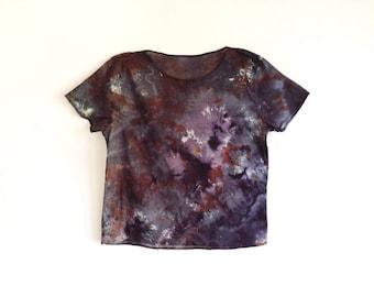 Dark Mineral Hand Dyed Womens T-shirt - M/L