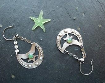 BOHO CHRYSOPRASE EARRINGS ,  tribal earrings, southwestern jewelry, long earrings, sterling silver earrings