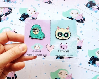 BFF pin set  - AndSmile - i Like Cats