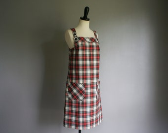 Vintage 60s PLAID Sears Flannel Overall SCHOOL GIRL Dress (s-m)