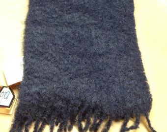 Navy Blue Scarf Ray Strauss Dead Stock Mohair Like New With Tag Gift Made in Spain