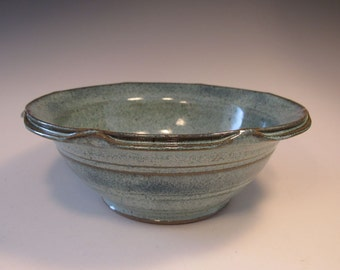 Blue Green Large Serving Bowl Dish with Split Wavy Rim