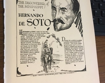 Book page print. Hernando DeSoto the Discoverer of the Mississippi. 7 x11 Great for framing for the collector. History.