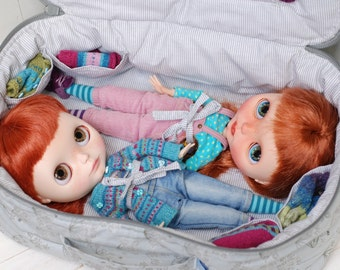 Travel Bag Sleeping Protective For Two Dolls Doll Linda Macario Case Blythe Littlefee Handmade 1/6 Bjd Dal Pullip Gray Flowers
