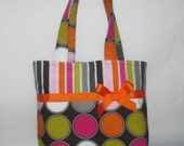 Large Polka Dotted with Multi Colored Stripped Purse ~ Small Tote Bag ~Small Purse ~ Tote ~ Girls purse ~Shoulder Bag!