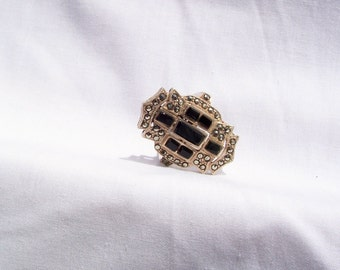 Ring, Art Deco Ring, Marcasite Black Onyx Ring, Marcasite Ring, Sterling Silver Ring, Black Onyx Ring